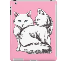 White Maine Coons Cats with Pink iPad Case/Skin