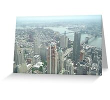 Aerial View of  Lower Manhattan, Manhattan, Brooklyn Bridges, from One World Observatory, World Trade Center Observation Deck, New York City  Greeting Card