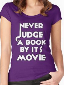 Never Judge A Book By Its Movie - White Women's Fitted Scoop T-Shirt