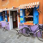 Bike outside shop in Burano, Italy by fionapine