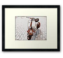 Vespa Scooter in Brown Framed Print