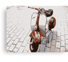 Vespa Scooter in Brown Canvas Print