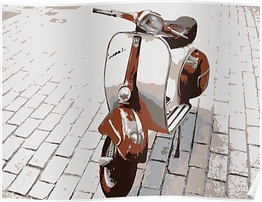 Vespa Scooter in Brown by ArtPrints