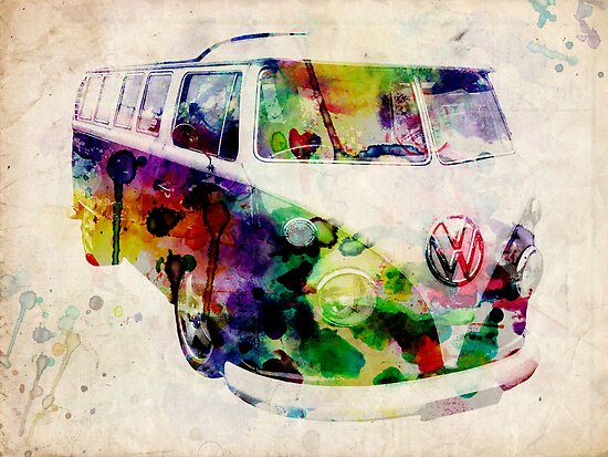 Camper Van Urban Art by ArtPrints
