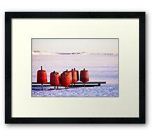Winter Red Shapes Framed Print