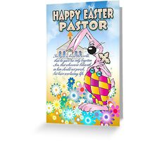 Pastor Easter Card - Easter Bunny Flowers  Greeting Card