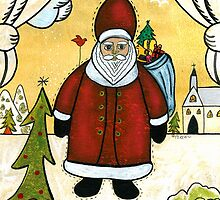 SAINT NICK FOLK ART PAINTING by Frances Perea