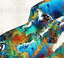 Colorful Dog Art - Loving Eyes - By Sharon Cummings  by Sharon Cummings