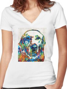 Labrador Retriever Art - Play With Me - By Sharon Cummings Women's Fitted V-Neck T-Shirt