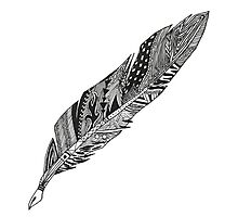 Feather - Zentangle Photographic Print