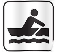 Rowing, Sailing Paddle Boat Icon Poster