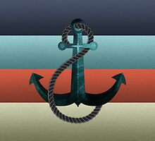 Nautical Anchor Textured Flag by kennasato