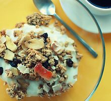 breakfast on yellow with muesli and coffee. by x99elledge