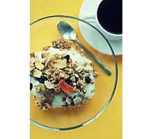 breakfast on yellow with muesli and coffee. Photographic Print