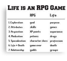 Life is an RPG Game Canvas Print