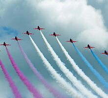 Red Arrows at Cosford 9 by Len Slack