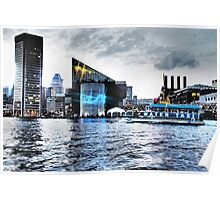 Baltimore City Inner Harbor Night Scene Poster