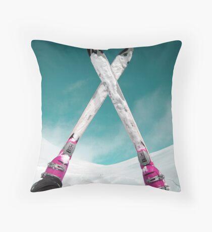 Ski  on Mountain Palandoken in Erzurum  Throw Pillow