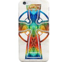 Colorful Celtic Cross by Sharon Cummings iPhone Case/Skin