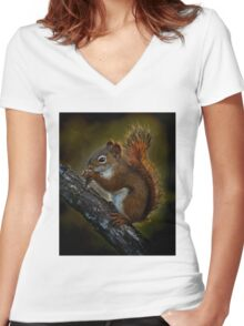Red Squirrel - Photoshop Manipulation Women's Fitted V-Neck T-Shirt