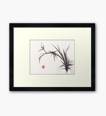 """""""Horizon""""  original ink and wash bamboo sumi-e painting Framed Print"""