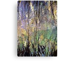 Blue Green Willow Water Canvas Print