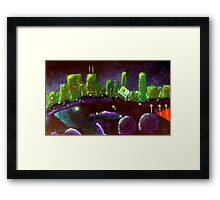 Chicago Skyline: Green and Purple Framed Print
