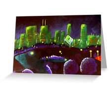 Chicago Skyline: Green and Purple Greeting Card