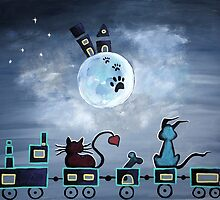 Picken Midnight Train To The Moon - For Children Paintings by Valentina Miletic by Valentina Miletic