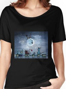 Picken Midnight Train To The Moon - For Children Paintings by Valentina Miletic Women's Relaxed Fit T-Shirt