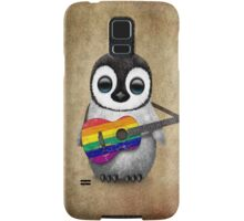 Baby Penguin Playing Gay Pride Rainbow Flag Guitar Samsung Galaxy Case/Skin