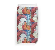 Little Red modern red portrait Duvet Cover