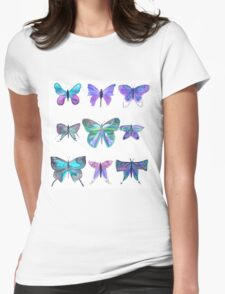 Bright purple and blue watercolour butterflies Womens Fitted T-Shirt