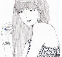 Haute Couture Fashion Illustration Portrait by Ali J