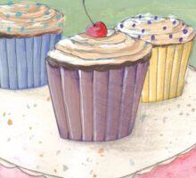 Retro trio of cupcakes on a plate Sticker