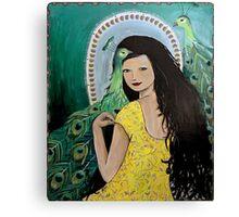 Fashion Portrait with Peacocks Canvas Print