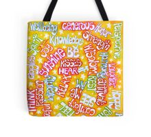 Words On Yellow Tote Bag