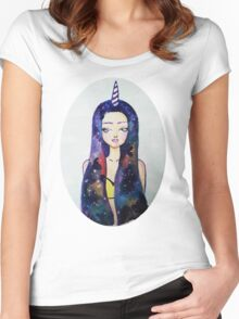 Unicorn Galaxy Women's Fitted Scoop T-Shirt