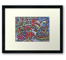 Cat On Sax In Music Room Framed Print