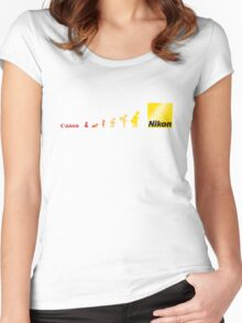 Nikon vs Canon Women's Fitted Scoop T-Shirt