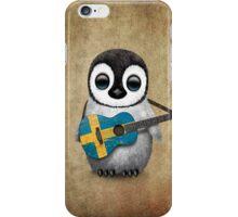 Baby Penguin Playing Swedish Flag Guitar iPhone Case/Skin