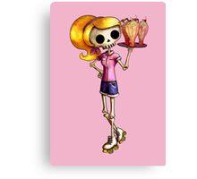 Skeleton Pin Up Girl Waitress Canvas Print