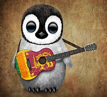 Baby Penguin Playing Sri Lanka Flag Guitar by Jeff Bartels