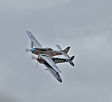 Up close and personal, Mustang and Spitfire by bazcelt