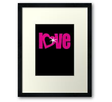 """love"" pink heart text sparkle bling Framed Print"