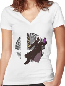Robin (Female, Aerial) - Sunset Shores Women's Fitted V-Neck T-Shirt