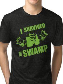 I Survived the Swamp - Black Tee Tri-blend T-Shirt