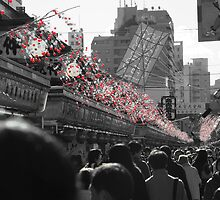 Crowded Market Black and white with Red by FunWithTildes