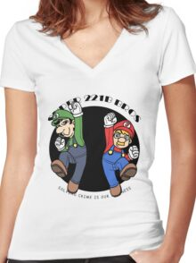 Super Mario 221B Women's Fitted V-Neck T-Shirt