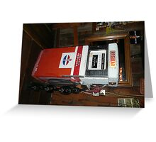 An Old Red & White American Petrol Pump. Greeting Card